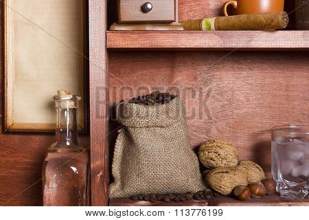 Wooden Shelf With Coffee Beans