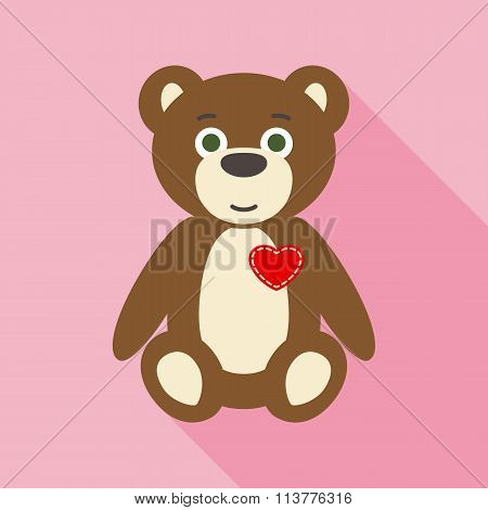 Valentine Teddy Bear in Flat Style with Long Shadows