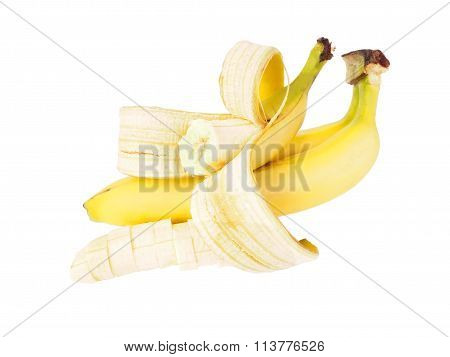 Bunch Of Ripe Bananas On White Background. Isolate