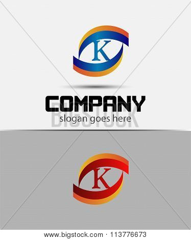 Eye logo element with letter K icons