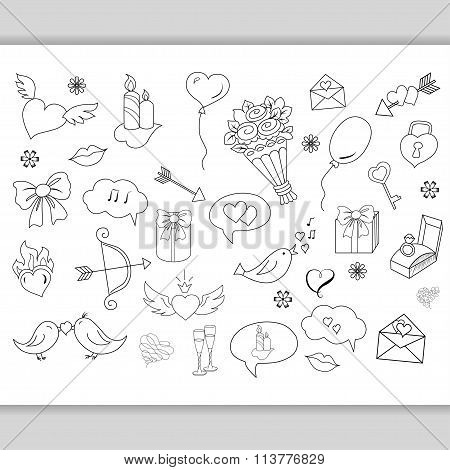 Sketchy hand drawn love doodles objects