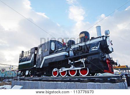 Ulaanbaatar, Mongolia-dec,02 2015: Steam Locomotive Series T-159. Museum Of Railway Equipment In Ula