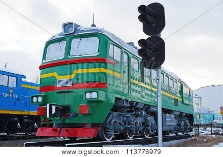 Ulaanbaatar, Mongolia-dec,02 2015: Two-piece Mainline Locomotive 2M62M. Museum Of Railway Equipment