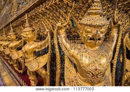 Thai Garuda Statues (State symbol of Thailand) in Wat Phra Kaew Ancient Temple of the Emerald Buddha