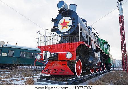 Ulaanbaatar, Mongolia-dec,02 2015: Steam Locomotive Series Su-116. Museum Of Railway Equipment In Ul