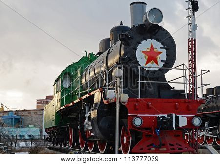 Ulaanbaatar, Mongolia-dec,02 2015: Steam Locomotive Series Su-116. Museum Of Railway Equipment In Ul