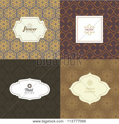 Vector Mono Line Graphic Design Templates - Labels And Badges On Decorative Backgrounds ,style Thai