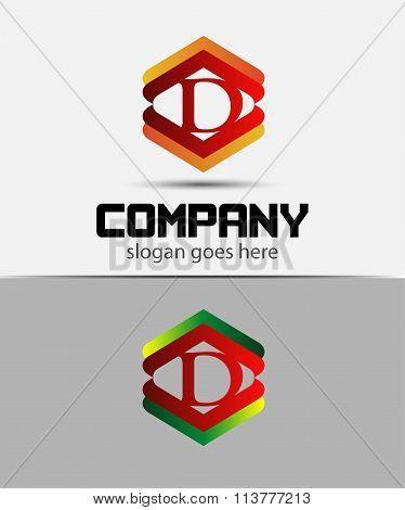 Alphabet symbol with Letter D