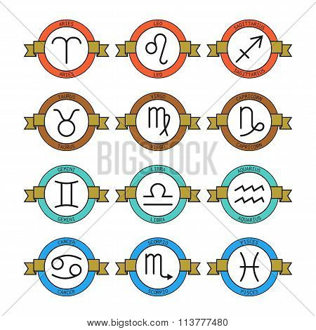 Badges and labels with zodiac signs for horoscopes, predictions