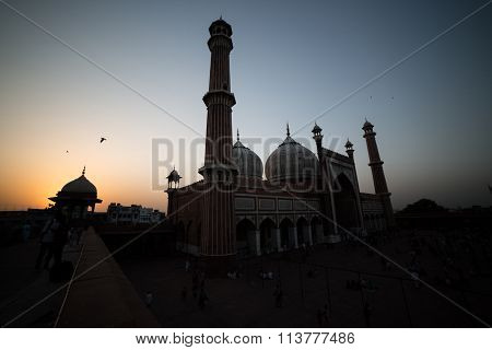 Sunset In The Jama Masjiid, Delhi, India