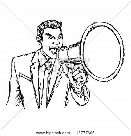Illustration Vector Hand Drawn Doodle Angry Businessman Shouting Through Megaphone Isolated.