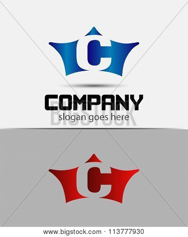 Sign the letter C Branding Identity crown logo design template