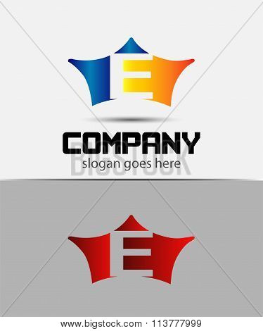 Sign the letter E Branding Identity crown logo design template