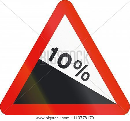 Road Sign Used In Spain - Steep Descent