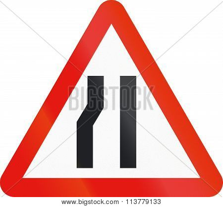 Road Sign Used In Spain - Narrowing Of Carriageway On The Left