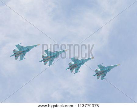 Four Su-34 In Flight