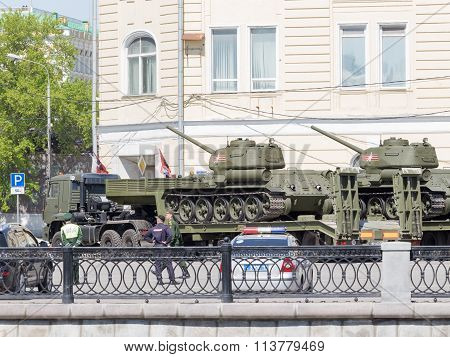 Transportation Of Tanks For The Rehearsal Of The Victory Parade