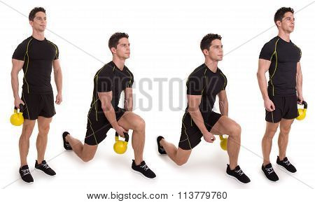 Kettlebell, Lunge Pass, Exercise