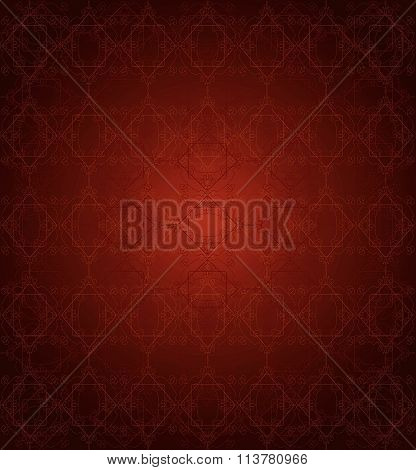 Seamless Red Lace Pattern On Dark Red Background