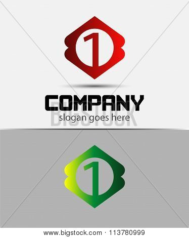 Number 1 logo icon design template elements