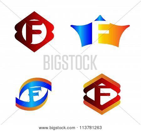 Letter F set Alphabetical Logo Design Concepts
