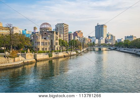 Hiroshima Cityscape With The Atomic Dome Memorial Ruins