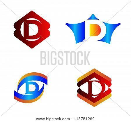 Letter D set Alphabetical Logo Design Concepts