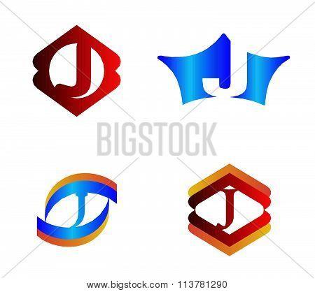 Letter J set Alphabetical Logo Design Concepts