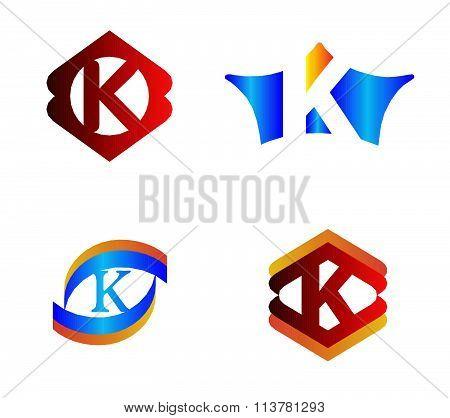 Letter K set Alphabetical Logo Design Concepts