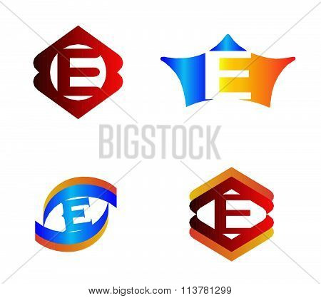 Letter E set Alphabetical Logo Design Concepts