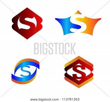 Letter S set Alphabetical Logo Design Concepts