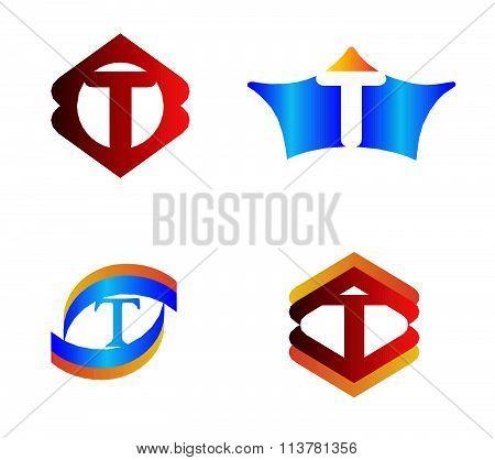 Letter T set Alphabetical Logo Design Concepts