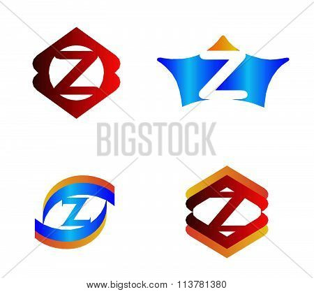 Letter Z set Alphabetical Logo Design Concepts