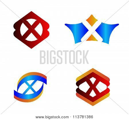 Letter X set Alphabetical Logo Design Concepts