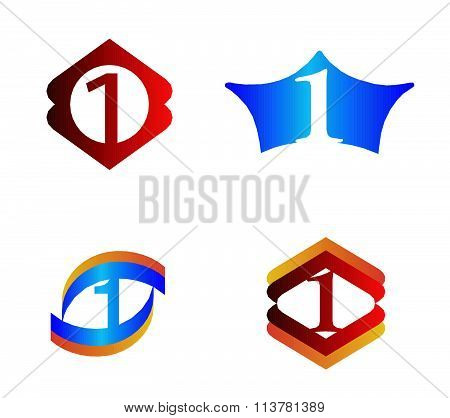 Logo number one, 1 icon template