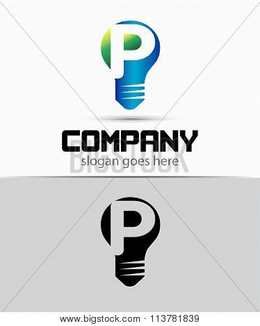 Shutter light bulb abstract P logo template