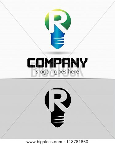 Shutter light bulb abstract R logo template