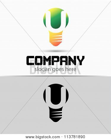 Shutter light bulb abstract U logo template