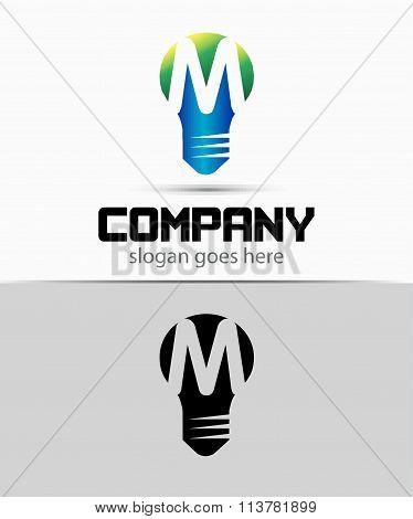 Fresh idea art design concept M logo vector design template. Creative thinking art