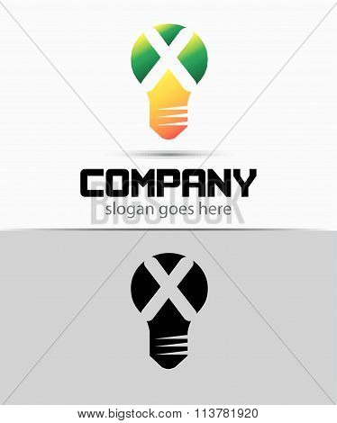 Shutter light bulb abstract X logo template