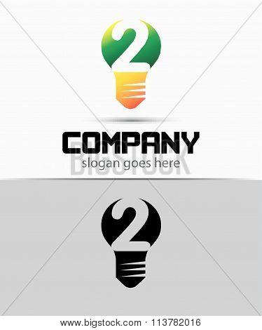 Number 2 logo. Vector logotype design set