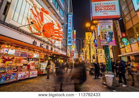 Dotombori Shopping Street In Osaka, Japan