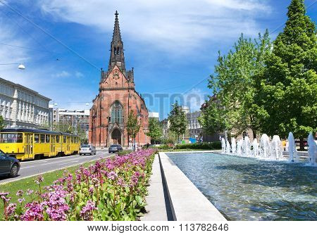 Evangelic Red Church Of J. A. Komensky, Town Brno, Moravia, Czech Republic, Europe