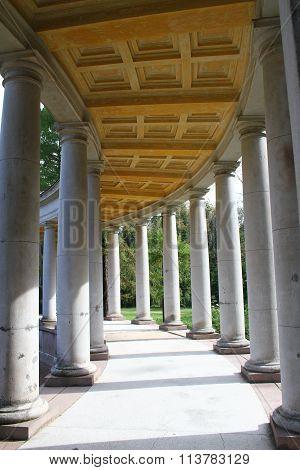 Columns. Temple-burial vault Colonnade