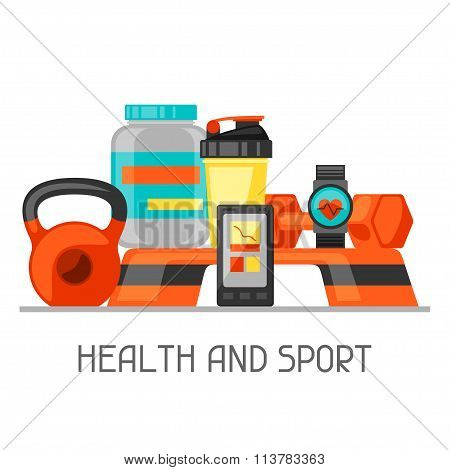Sports and healthy lifestyle background with fitness icons. Image can be used on advertising booklet