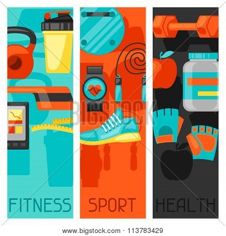 Sports and healthy lifestyle banners with fitness icons. Image can be used on advertising booklets,