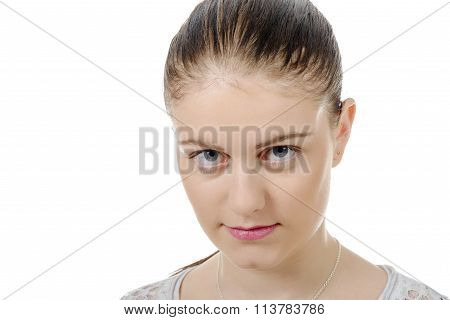 Young Woman With Hair Tied , Looking Camera, On White Background