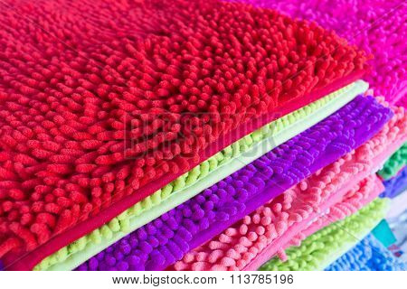 Colorful Carpet Softness Texture Of Doormat, Close-up Image