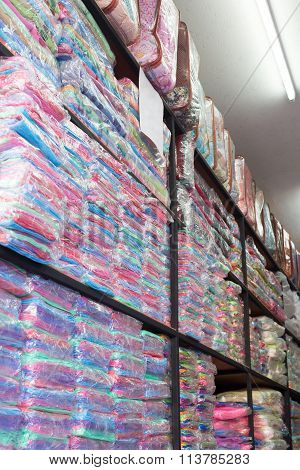 Warehouse Of Towel Softness Fluffy Fiber Fabric On Shelf For Sale, Industrial Of Textile