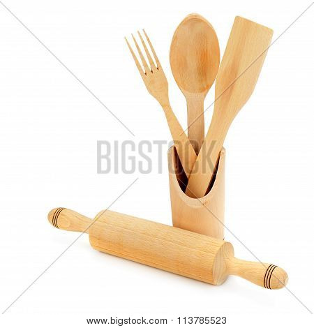 Wooden Cooking Utensils Isolated On A White Background